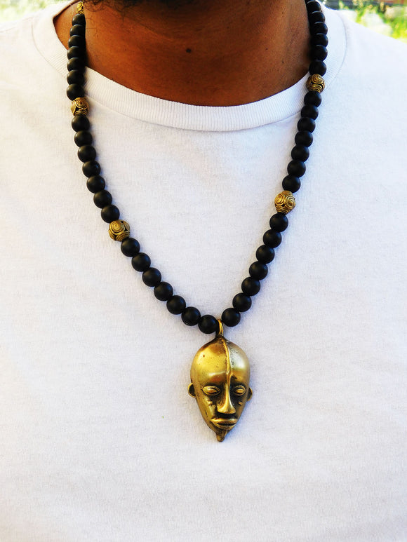 African Necklaces Men Jewelry Tribal Beaded Black Brass Mask Gift Ideas for Him Ethnic Afrocentric Handmade