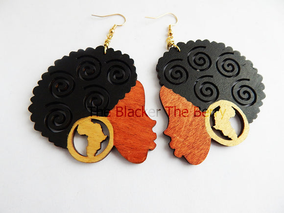 African Earrings Afro Wooden Earrings Black Gold Natural Hair Jewelry African