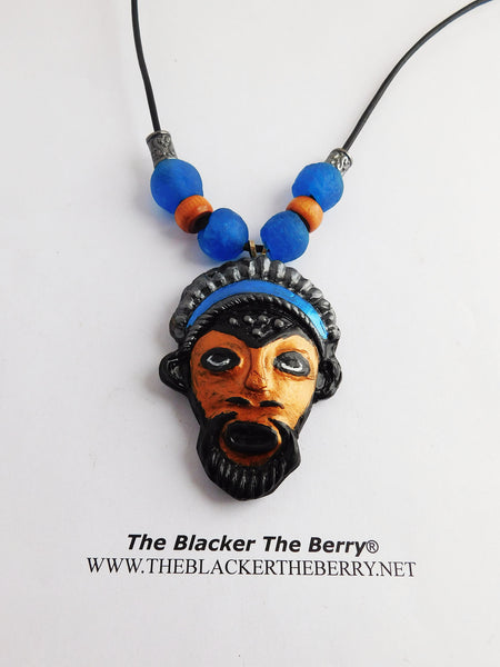 African Mask Necklace Pendant Handmade Jewelry Blue Handpainted