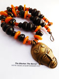 African Necklace Men Large Jewelry Beaded Brown Orange Mask Photography Photo Shoot