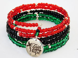 Faith Love Bracelet Beaded RBG Pan African Jewelry Women Christmas
