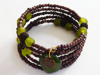 Green Bracelet for Women Ethnic Jewelry Beaded Fall Jewelry Handmade