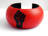 Fist Bangle Black Red Earrings Jewelry Set Black Power Women