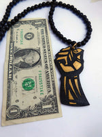 Black Power Fist Necklace Men Beaded Black Gold Ethnic Jewelry