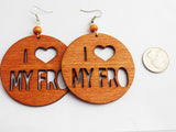 African Earrings Wooden Afro Fro Ethnic Jewelry
