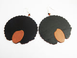Afro Earrings Wooden Jewelry Ethnic Natural Hair Black Art Silhouette