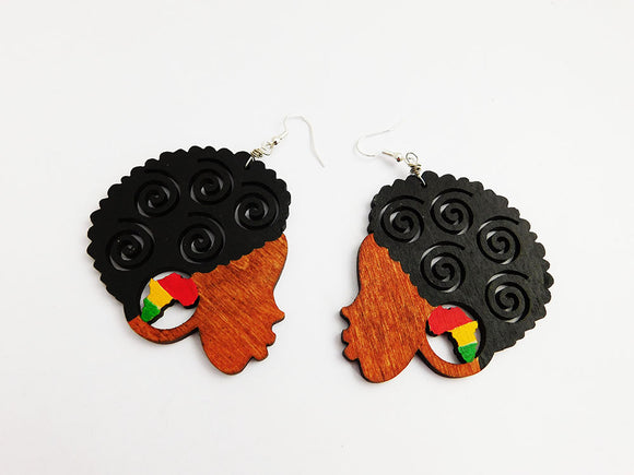 African Earrings Black Woman Silhouette Wooden Jewelry Ethnic Afrocentric Rasta Gift Ideas for Her