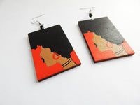 Afro Earrings African American Jewelry Hand Painted Wooden Ethnic Afrocentric