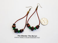 Ethnic Earrings Leather Beaded Wooden Green