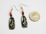 Giraffe Earrings Silver African Jewelry Beaded Pewter Handmade