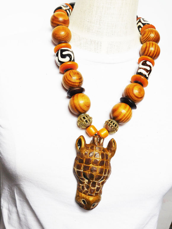 Giraffe Necklace Large Bold African Unisex Ethnic Statement