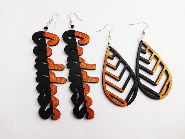 Goddess Earrings Teardrop Wooden Ethnic Black Jewelry