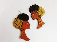 African Earrings Women Gold Afro Natural Hair Wooden Ethnic Jewelry Black Art
