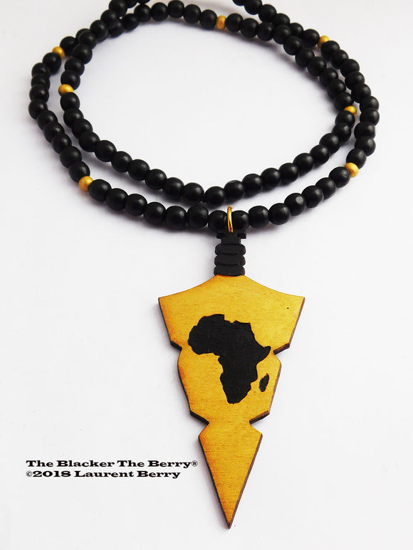 African Necklace Men Jewelry Wooden Arrowhead Pendant Africa Gold Black
