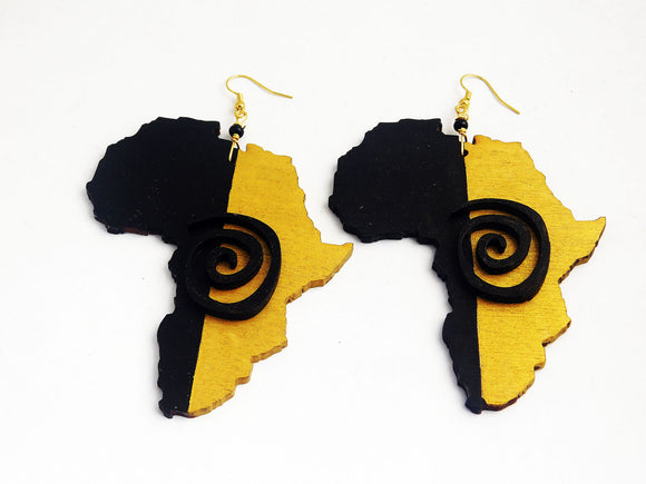 Africa Earrings Black Gold Wooden Jewelry Afrocentric Handmade
