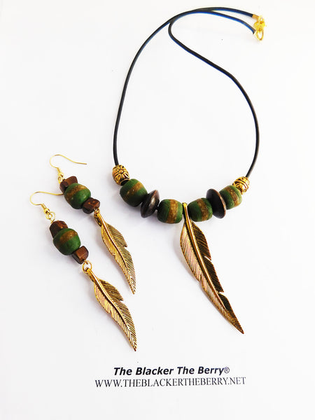 Gold Leaf Necklace Jewelry Set Beaded Green