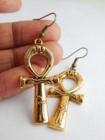 Ankh Earrings Gold Jewelry Egyptian
