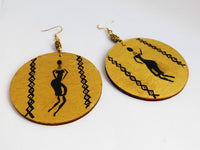 African Earrings Women Silhouette Ethnic Hand Painted Black Gold Jewelry