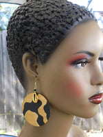 African Earrings Cowrie Shell Black Gold Jewelry