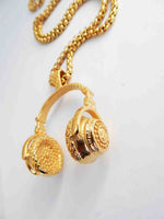 Gold Headphones Necklace