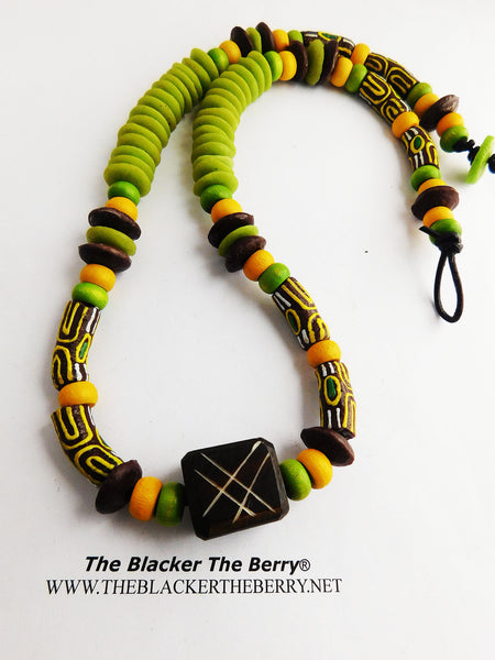 Green Necklace Beaded Brown yellow Jewelry