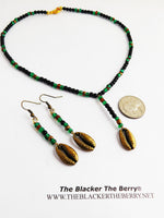 Cowrie Shell Choker Necklace Beaded Black Green Jewelry