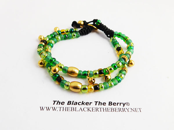 Anklet Beaded Green Brass Leather Women
