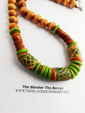 Men Necklaces Wooden Beaded Green Jewelry Ethnic The Blacker The Berry
