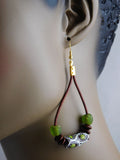 Leather Earrings Beaded African Jewelry Green Brown Ethnic Handmade