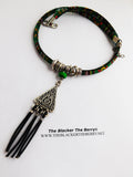Tribal Necklace Silver Jewelry Green Fabric Ethnic Women The Blacker The Berry®