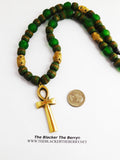 Silver Ankh Necklace Beaded Green Jewelry The Blacker The Berry®