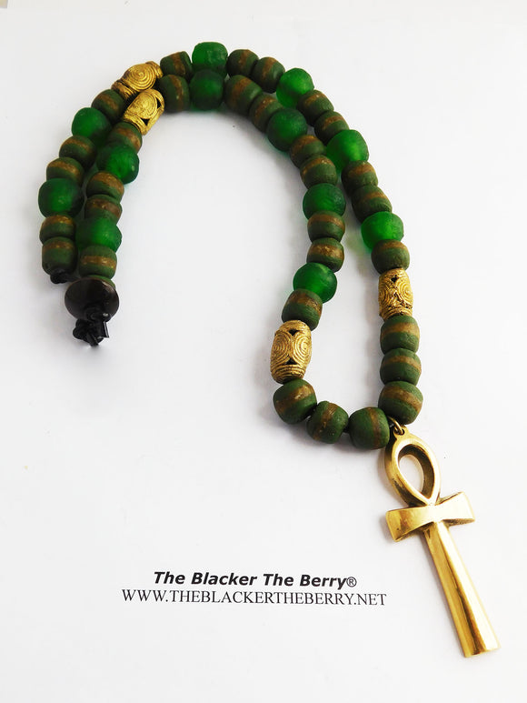 Silver Ankh Necklace Beaded Green Jewelry