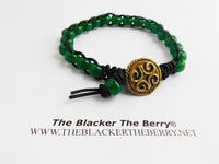 Anklet Jewelry Green Beaded Ethnic Summer Jewelry Adinkra