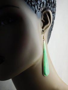 Green Earrings Drop Jewelry Long Women