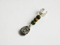 Hair Accessories African Egyptian Silver Beaded Green Handmade Gift Ideas for Him Her