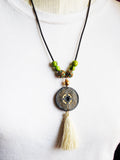Green Necklace Earrings Peru Beaded Ethnic Jewelry