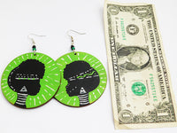 Afrocentric Earrings African Jewelry Wooden Green Hand Painted Tribal Gift Ideas for Her