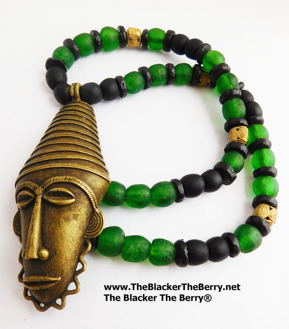 African Men Necklaces Beaded Jewelry Green Ethnic