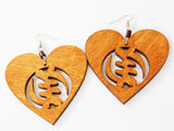 Gye Earrings Gye Nyame Jewelry Wooden Heart Handmade