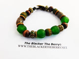 Gye Nyame Bracelet Beaded African Large Ethnic Jewelry Green