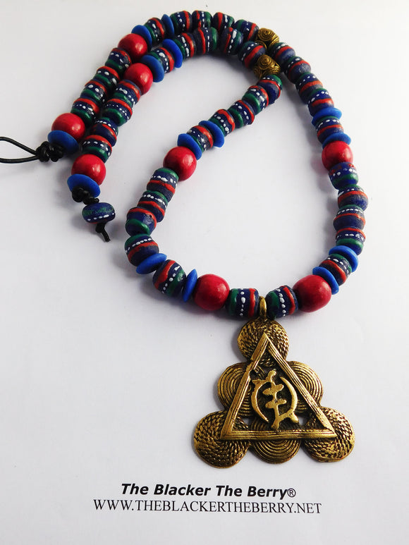 Gye Necklace African Jewelry Beaded Blue Red Brass Him Men
