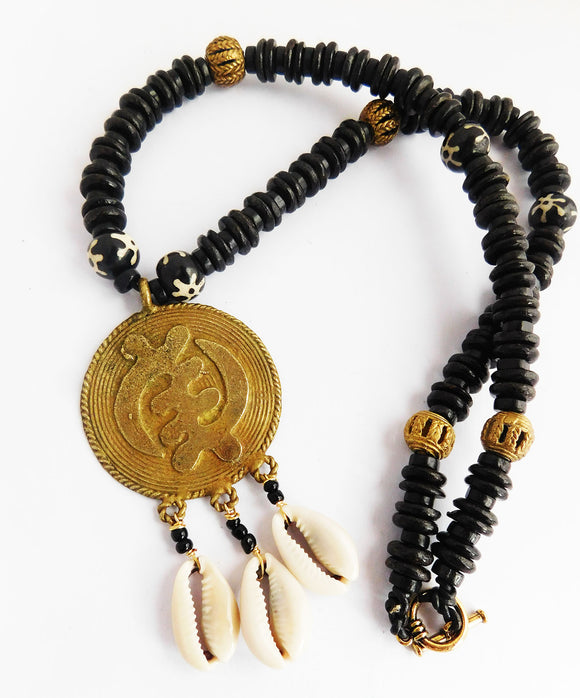 Gye Nyame Necklaces African Jewelry Black Cowrie Shell
