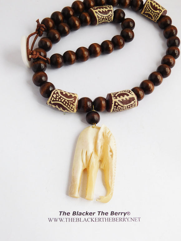Men African Necklaces Elephant Beaded Ethnic Gye Nyame Jewelry
