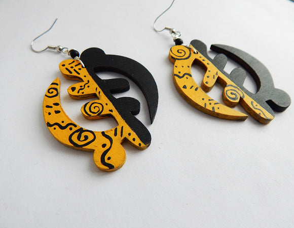 Gye Nyame Earrings Yellow Black African Jewelry Hand Painted