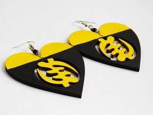 Gye Nyame Earrings Wooden Yellow Black Hand Painted