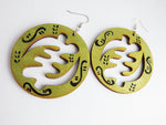 Gye Nyame Earrings Wooden Large Green Black Handmade Hand Painted