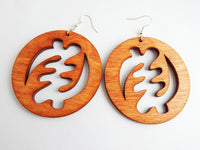 Gye Nyame Earrings African Adinkra Wooden Jewelry