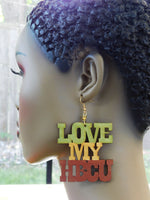 Love My HBCU Earrings Wooden Jewelry Hand Painted Ethnic Art Green Gold