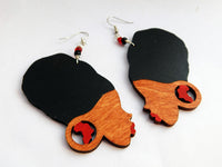 African Earrings Silhouette Wooden Jewelry Women Gift Ideas for Her