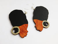 African Women Earrings Head Wrap Natural Hair Jewelry Wooden Black Silver Gift Ideas for Her